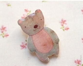 Teddy Bear brooch - Pink bear - Cute animal brooches - Woodland (BH008)