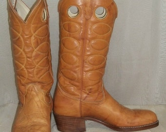 ON SALE Vintage Buckaroo Marbled Leather Cowboy Boots Mens 7D Womens 8 1/2 Boho