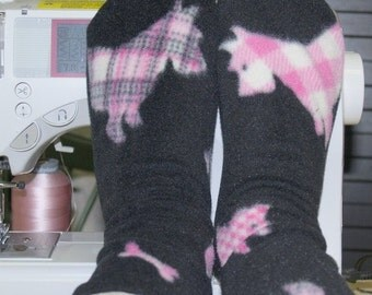 Fleece Socks  Black With Pink Plaid Scottie Dogs Premium Fabric