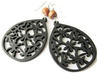 Black and Brown Wooden Teardrop Earrings, Hippie Bohemian Style Jewellery for Women, Lightweight Handcrafted Earrings