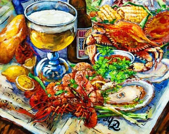 Louisiana Four Seasons, Boiled Crawfish, Raw Oyster, Gulf Crabs, Boiled Shrimp, New Orleans Tablescape Painting,  FREE SHIPPING!