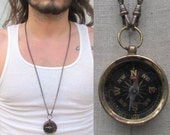 Compass Necklace working antiqued Pendant Glass top Brass chain watch chain parts fob Unisex Jewelry