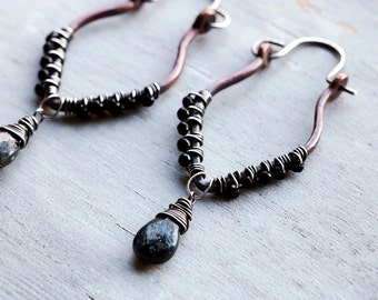 Kyanite & Spinel Wrapped Copper Earrings with Sterling Silver