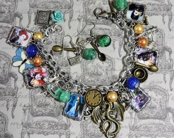 Alice in Wonderland II-Charm Bracelet set, earrings, fantasy, classic fairytale