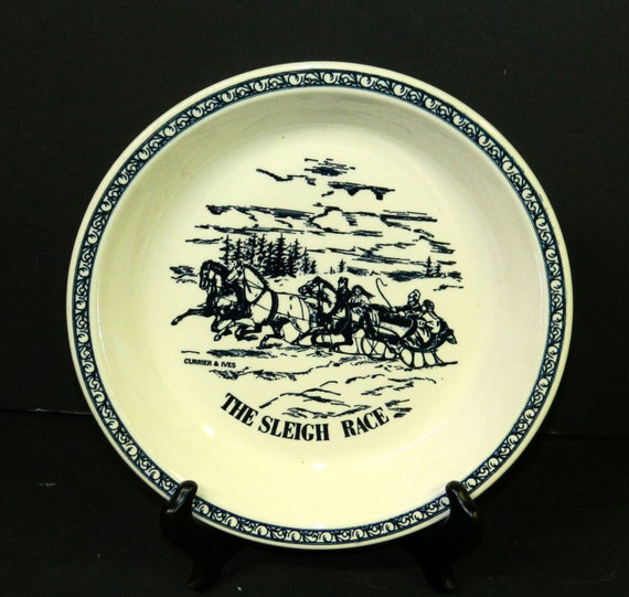 VINTAGE PIE PLATE Currier and Ives Baking and Decorative Made in U.S.A. Blue \u0026 White Ceramic Pie Pan CrabbyCats Crabby Cats from CrabbyCats on Etsy Studio & VINTAGE PIE PLATE Currier and Ives Baking and Decorative Made in ...