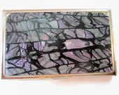 Business Card Case, Credit Card Case, Metal Card Case, Lavender and Gray with Silvery Accents