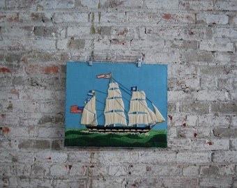 Vintage Hand Crafted Ship Wall Art