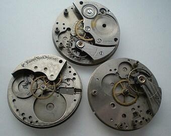 3 vintage steampunk partial watch movements (L60)