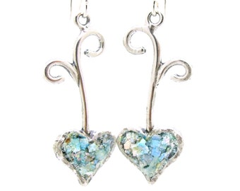 Romantic heart shaped silver earring with roman glass