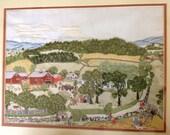 Grandma Moses framed finished crewel embroidery picture Vintage Folk Art needlework
