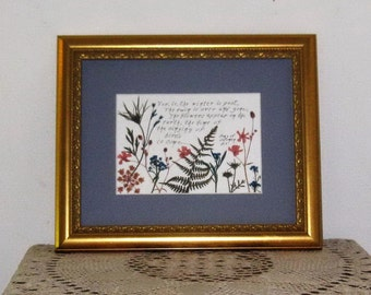 Pressed flowers with Bible verse 8x10 frame