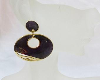 Vintage berebi enamel pierced earrings oval shape purple