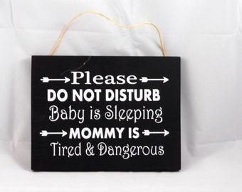 Mommy Gift-Baby Shower-New Parents-Home Decor-Wood Sign-Baby is Sleeping wood Sign-
