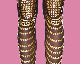 Gold accessories tattoo tights, Goldfish, available in S-M L-XL
