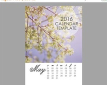 SALE Printable 2016 Calendar Template, 5x7 size loose sheet 12 months calendar, Downloadable file for photographers, Print Your Own Calendar