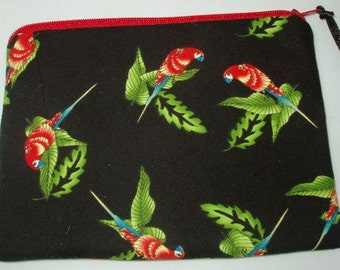 Padded Zipper Cosmetic Pouch in Tiny Scarlet Macaw Parrot Print