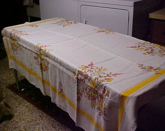 vintage linen table cloth in browns and yellows-  74 X 52""
