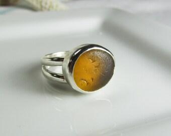 Amber Yellow English Seaglass Ring, Twisted Band, Sea Glass Ring