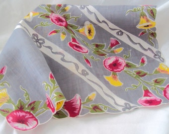 vintage hankie - Morning  Glory - Ribbons - Bows on Grey