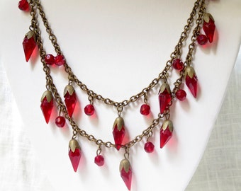 1930s Czech Red Crystal Multistrand Necklace