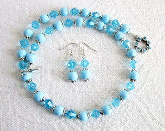 Baby Blue Crystal and Glass Necklace with Matching Earrings