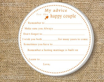 Wedding Advice cards on Kraft paper- Wedding Guest Book- Bridal Shower Game Cards Set of 25