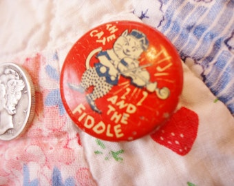Vintage Advertising Pinback Nathan Albert Headwear New York The Cat And The Fiddle Vintage Pinback Vintage Clothing Memorabilia