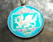Wales - Dragon Coin Pendant - Hand Painted
