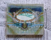 Lime Carousel, 5 x 6, Original, Painting, Mixed Media Art, Miniature, Circus, Carnival, Curio, Wood