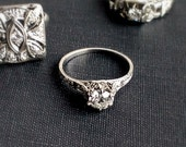 Art Deco Platinum Engagement Ring. High, Lacy Filigree Setting.