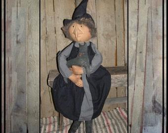 Primitive folk art soft sculpted rag doll witch handmade cat HAFAIR ofg HAGUILD faap Lucys Lazy Dayz