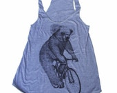 Womens KOALA on a Bicycle - Ladies Athletic Blue Screen Printed Tank Top - American Apparel Tri-Blend