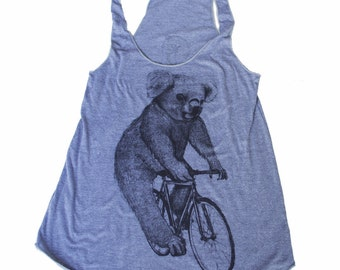 Koala on a Bicycle -  Womens Tank top, Ladies Tank top, Tri Blend Tank, Handmade graphic tee, sizes s-xL