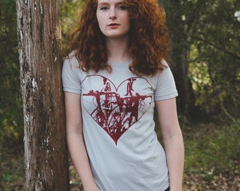 Heart + Bicycles - Silver American Apparel Ladies Shirt
