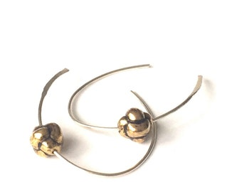 Hoop Earrings Sterling Silver Hammered Vintage Gold Plated Knot Bead