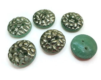 Emerald Silver Vintage Glass Buttons - 6 Antique 1940s Sew Through for Jewelry Beads Sewing Knitting