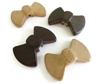 Bow Vintage Buttons - 4 Wooden Chocolate Brown or Natural Wood for Jewelry Beads Sewing Knitting 1.5 inches