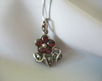 Garnet and Marcasite Pendant Sterling Silver Flower leaves Dark Red 1980s 14k White Gold Box Chain