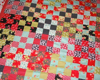 Quilt Top Modern Vintage style Lap size Quilt Fig Tree Quilts Farmhouse
