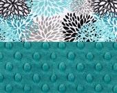 Minky Baby Blanket, Personalized Blooms Flowers Teal Blue Stroller