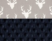 Personalized Minky Baby Blanket Boy, Deer Animals Navy Gray Cotton