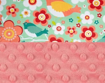 SALE Personalized Baby Blanket Girl - Birds Minky Baby Blanket, Turquoise Coral Baby Blanket - Stroller Blanket - Nursery Decor Girl