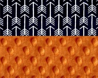 Minky Baby Blanket Boy, Personalized Baby Blanket - Arrow Baby Blanket - Navy Orange Stroller Blanket - Nursery Decor