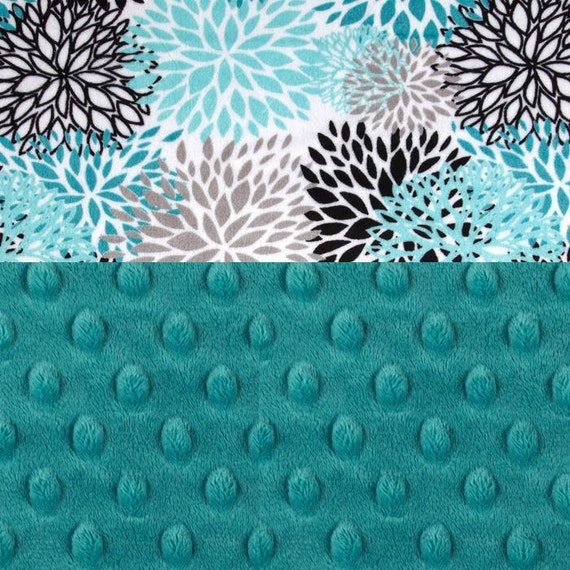 Minky Baby Blanket Girl Gray Teal By Sewingdreamsnotions