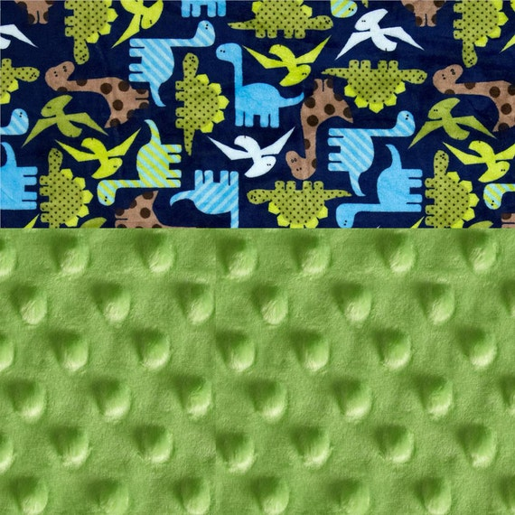 Blue and Green Dinosaur Minky Blanket - 42 x 55 Crib Size Personalized Baby Gift