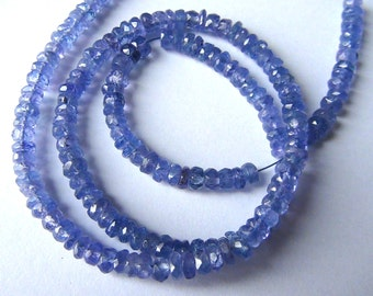 35% OFF Tanzanite faceted rondelle- 3mm- 6.5 inch