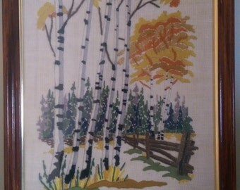 "Vintage Crewel Framed ""White Birch"" from Valley Craft.  14.5"" x 17.5""."