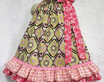 Girls Dress 2T/3T Pink Yellow Brown White Medallion Pillowcase Dress, Pillow Case Dress, Sundress