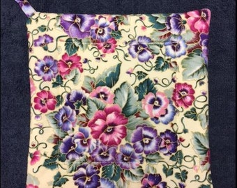 Purple and Pink Pansy Square Pot Holder
