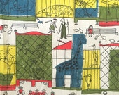Vintage Barkcloth Fabric Panel Zoo Animals People Families Mid Century Eames Ultra RARE